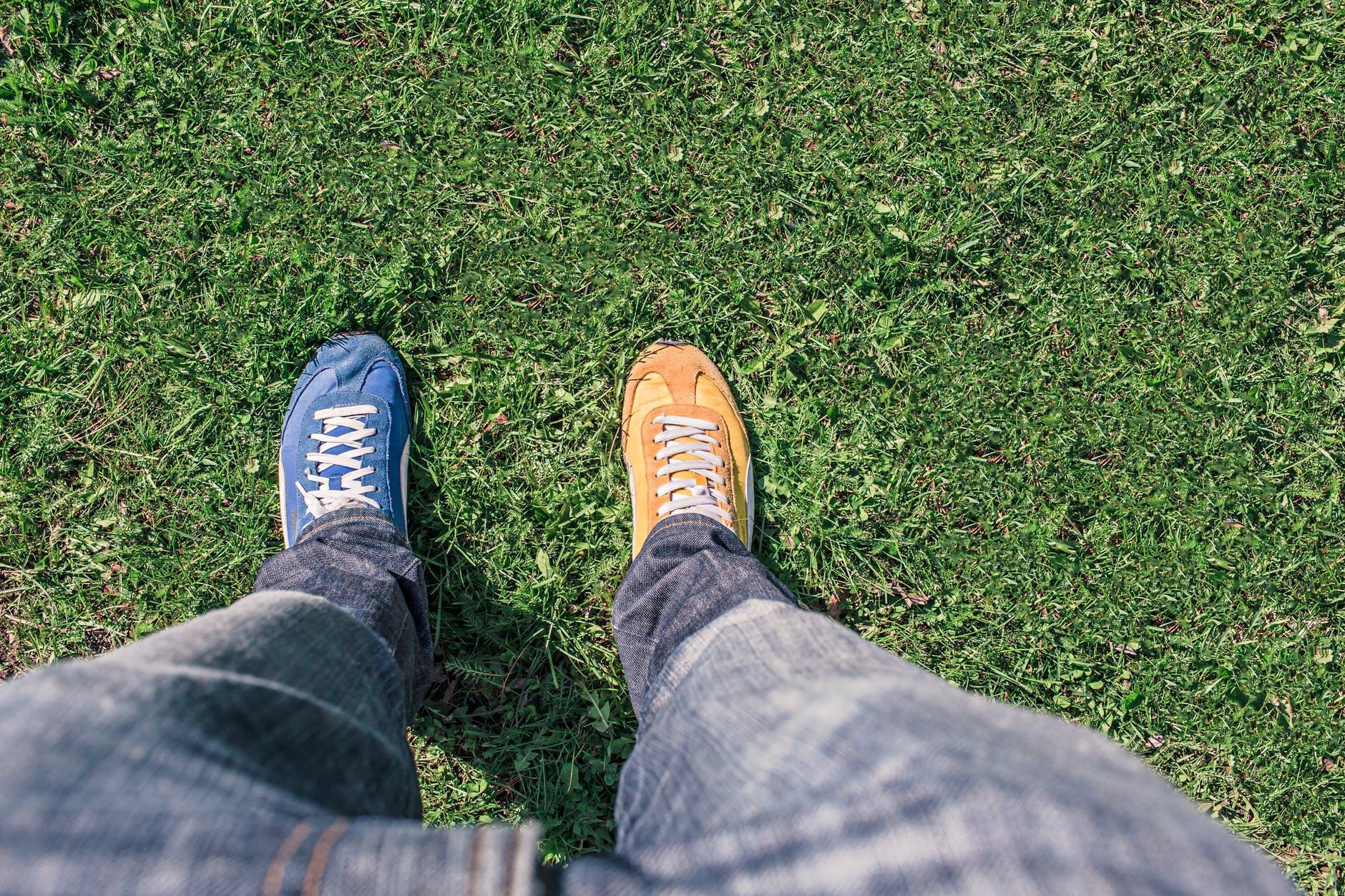 man person legs grass